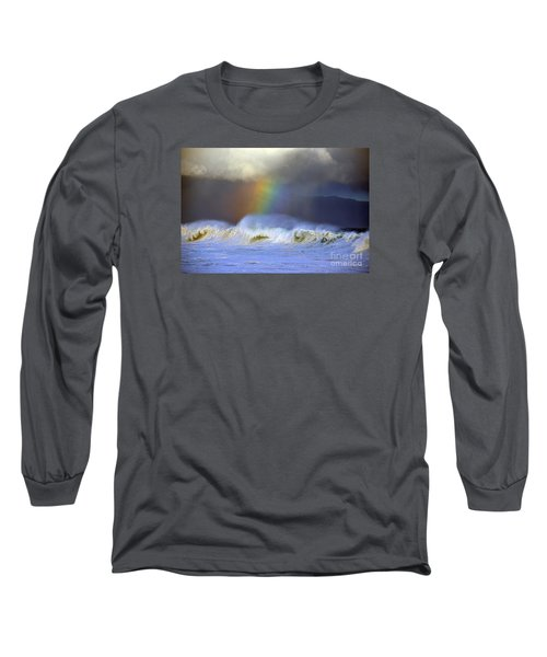Rainbow On The Banzai Pipeline At The North Shore Of Oahu Long Sleeve T-Shirt