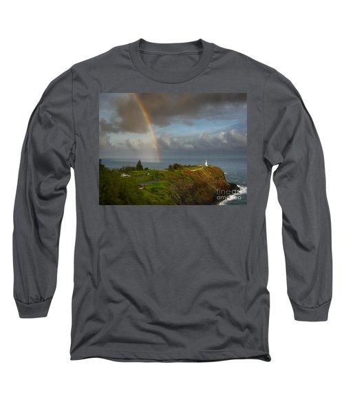 Rainbow Over Kilauea Lighthouse On Kauai Long Sleeve T-Shirt by IPics Photography