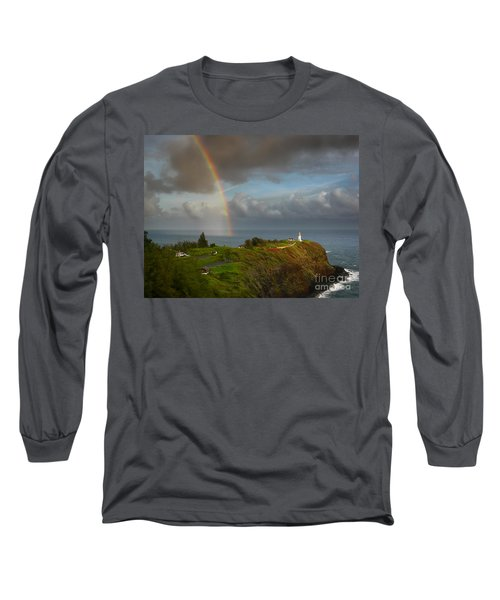 Rainbow Over Kilauea Lighthouse On Kauai Long Sleeve T-Shirt