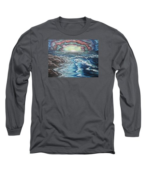 Long Sleeve T-Shirt featuring the painting Rainbow Skies by Cheryl Pettigrew