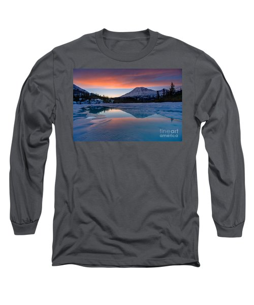 Rainier Snowbound Lake Sunset Skies Long Sleeve T-Shirt