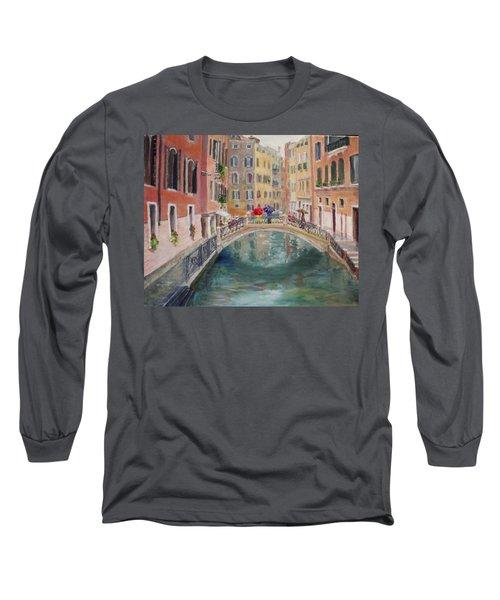 Rainy Day In Venice Long Sleeve T-Shirt by Harriett Masterson