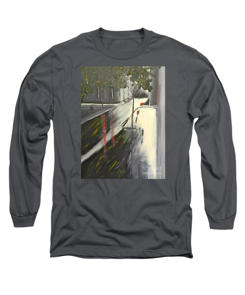 Long Sleeve T-Shirt featuring the painting Rainy Street In Melbourne by Pamela  Meredith