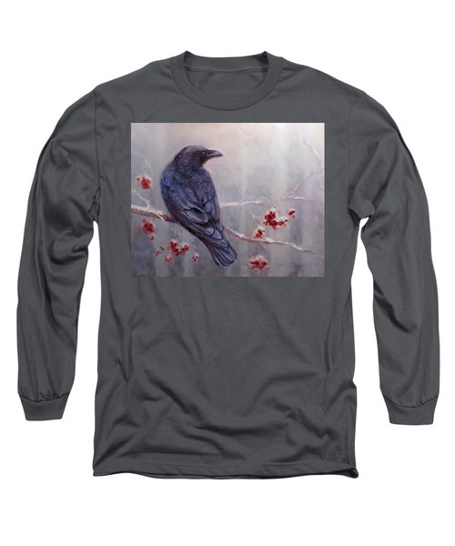 Raven In The Stillness - Black Bird Or Crow Resting In Winter Forest Long Sleeve T-Shirt by Karen Whitworth