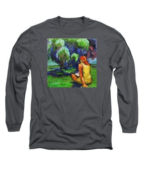 Long Sleeve T-Shirt featuring the painting Reading In A Park by Xueling Zou