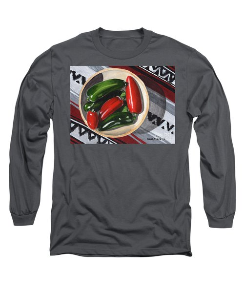 Red And Green Peppers Long Sleeve T-Shirt by Laura Forde