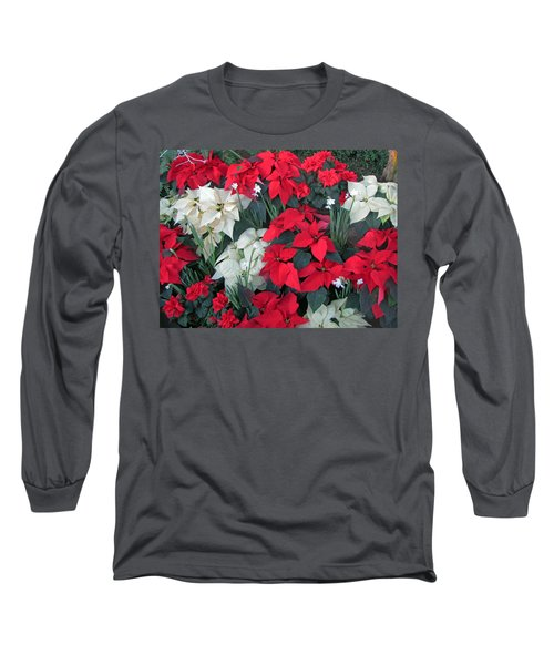 Red And White Poinsettias Long Sleeve T-Shirt