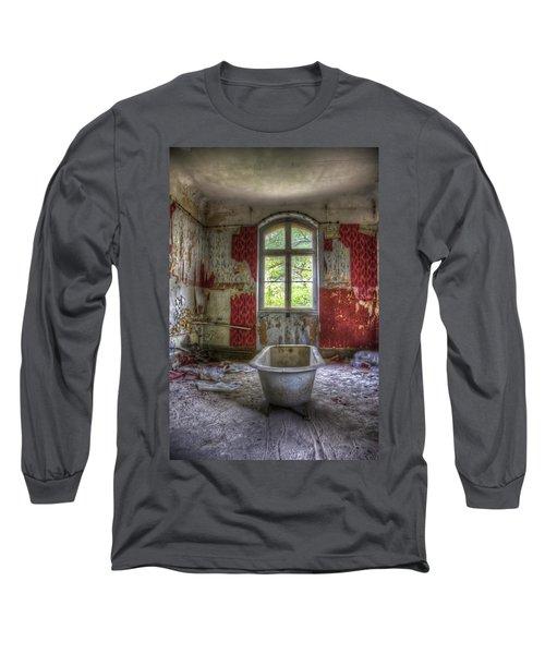 Red Bathroom Long Sleeve T-Shirt