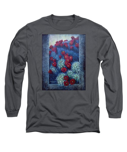 Long Sleeve T-Shirt featuring the painting Red Cactus by Rob Corsetti