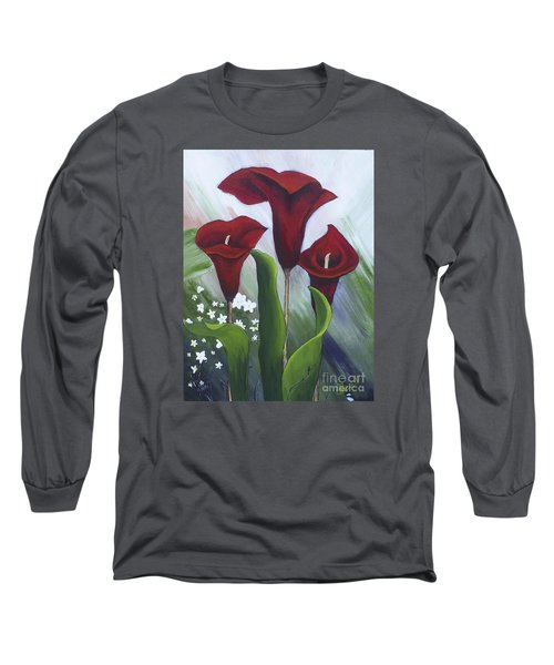 Red Calla Lilies Long Sleeve T-Shirt