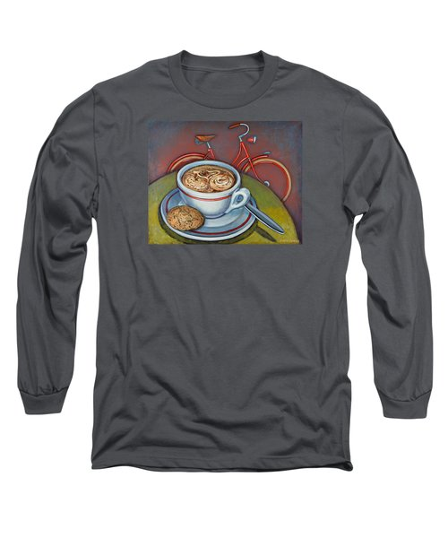 Red Dutch Bicycle With Cappuccino And Amaretti Long Sleeve T-Shirt by Mark Jones