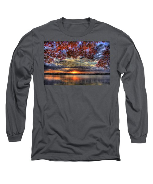 Good Bye Until Tomorrow Fall Leaves Sunset Lake Oconee Georgia Long Sleeve T-Shirt
