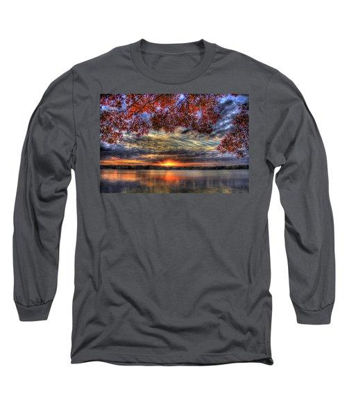 Good Bye Until Tomorrow Fall Leaves Sunset Lake Oconee Georgia Long Sleeve T-Shirt