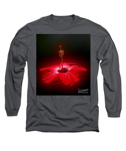 Red Hibiscus Tropical Flower Wall Art Long Sleeve T-Shirt
