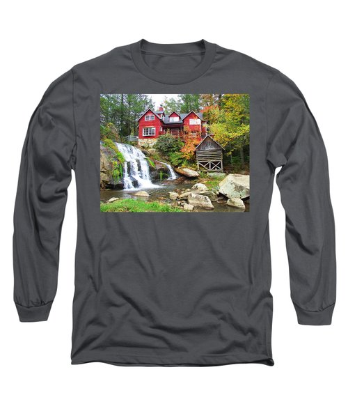 Red House By The Waterfall Long Sleeve T-Shirt
