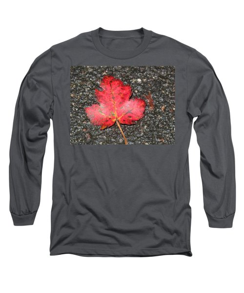 Long Sleeve T-Shirt featuring the photograph Red Leaf On Pavement by Barbara McDevitt