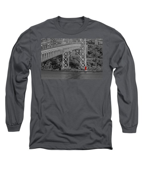 Long Sleeve T-Shirt featuring the photograph Red Lighthouse And Great Gray Bridge Bw by Susan Candelario