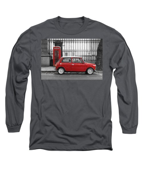 Red Mini Cooper In London Long Sleeve T-Shirt