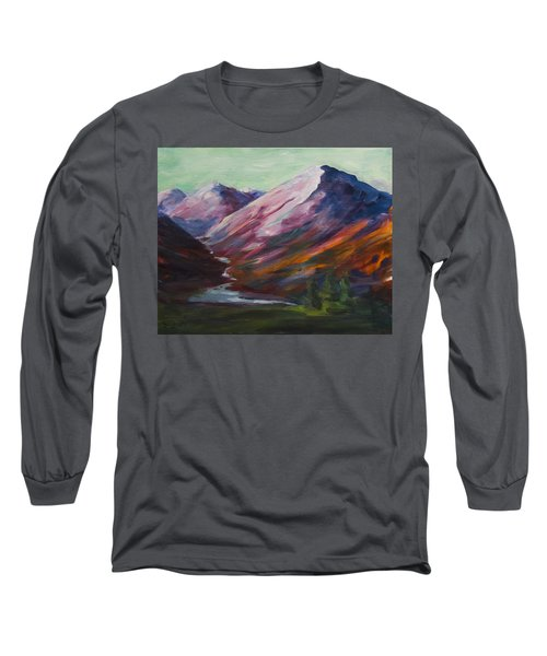 Red Mountain Surreal Mountain Lanscape Long Sleeve T-Shirt