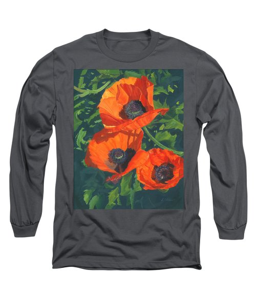 Long Sleeve T-Shirt featuring the painting Red Poppies Three by Lynne Reichhart