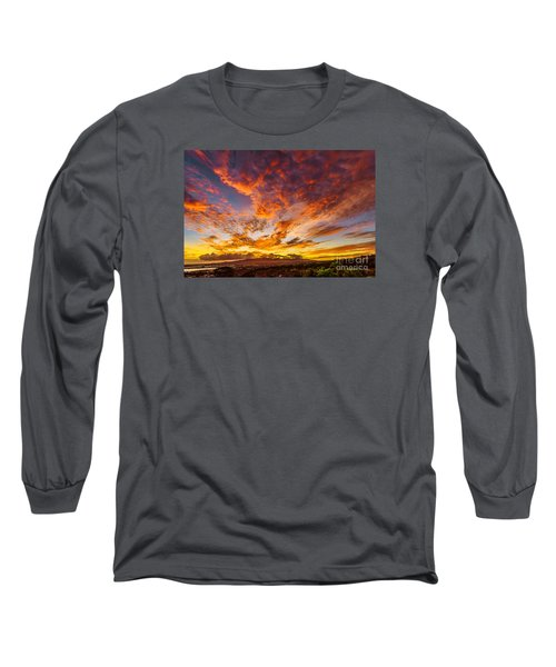 Long Sleeve T-Shirt featuring the photograph Red Sunset Behind The Waianae Mountain Range by Aloha Art