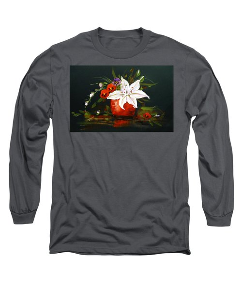 Long Sleeve T-Shirt featuring the painting Red Vase With Lily And Pansies by Dorothy Maier