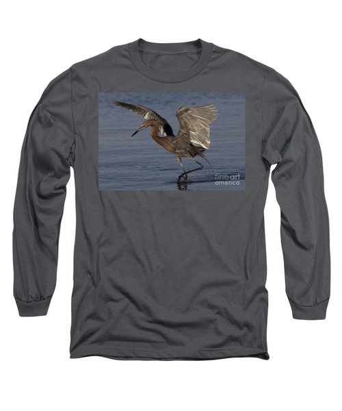 Reddish Egret Fishing Long Sleeve T-Shirt by Meg Rousher