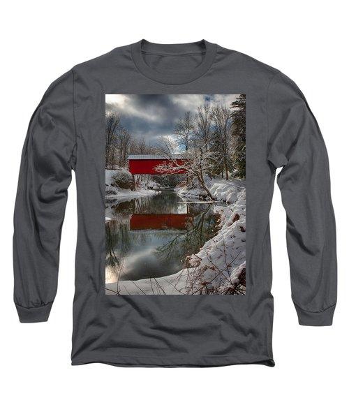 reflection of Slaughterhouse covered bridge Long Sleeve T-Shirt by Jeff Folger