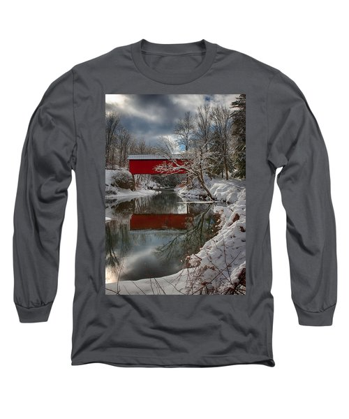 reflection of Slaughterhouse covered bridge Long Sleeve T-Shirt