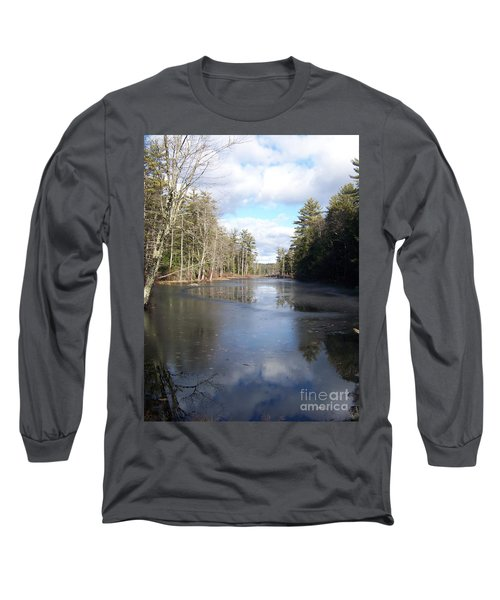 Long Sleeve T-Shirt featuring the photograph Reflections Caught On Ice At A Pretty Lake In New Hampshire by Eunice Miller