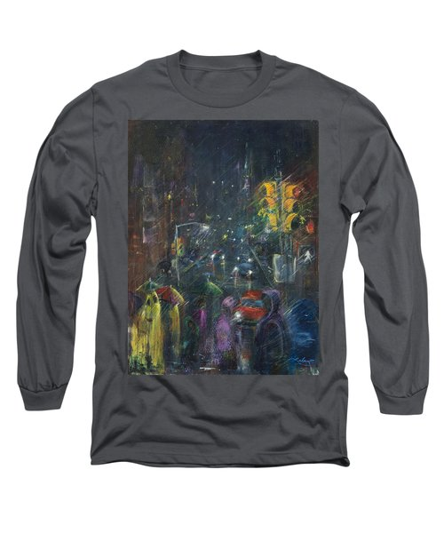 Reflections Of A Rainy Night Long Sleeve T-Shirt by Leela Payne