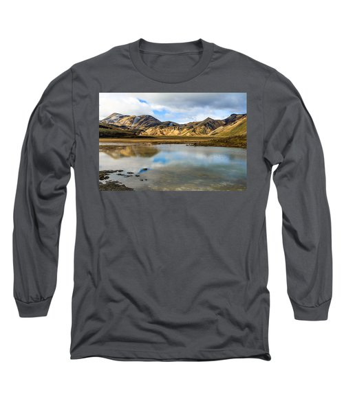 Long Sleeve T-Shirt featuring the photograph Reflections On Landmannalaugar by Peta Thames
