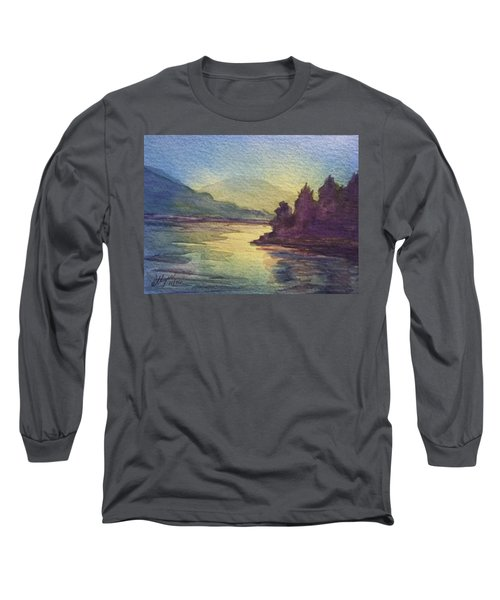 Long Sleeve T-Shirt featuring the painting Reflections On North South Lake by Ellen Levinson