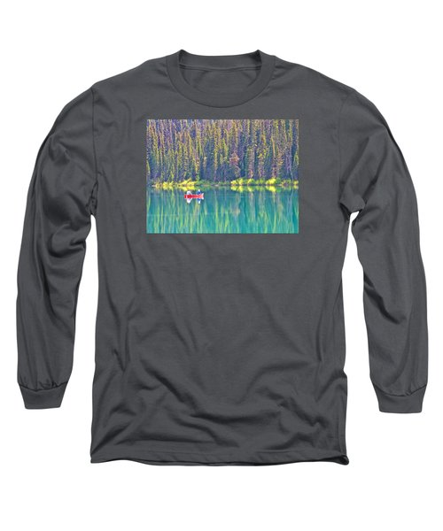 Reflective Fishing On Emerald Lake In Yoho National Park-british Columbia-canada  Long Sleeve T-Shirt by Ruth Hager