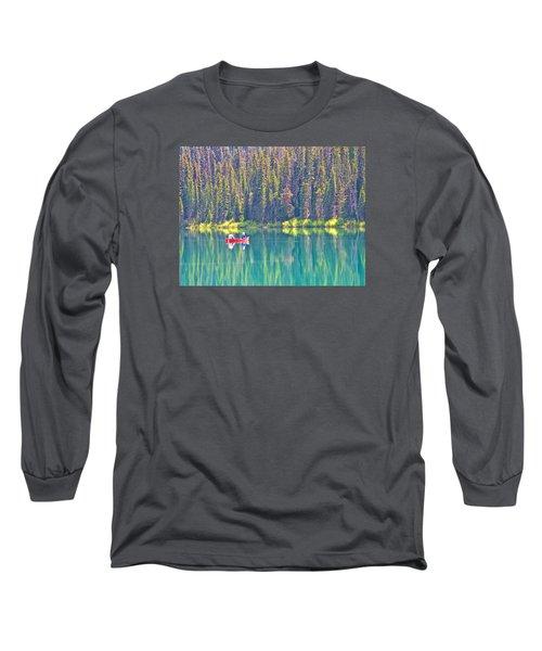 Reflective Fishing On Emerald Lake In Yoho National Park-british Columbia-canada  Long Sleeve T-Shirt