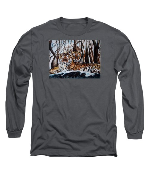 Long Sleeve T-Shirt featuring the painting Resting by Harsh Malik