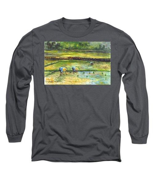 The Rice Paddy Field Long Sleeve T-Shirt by Carol Wisniewski