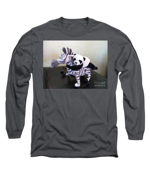 Long Sleeve T-Shirt featuring the photograph Riding A Zebra.traveling Pandas Series by Ausra Huntington nee Paulauskaite