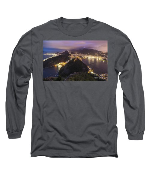 Rio Evening Cityscape Panorama Long Sleeve T-Shirt by Mike Reid