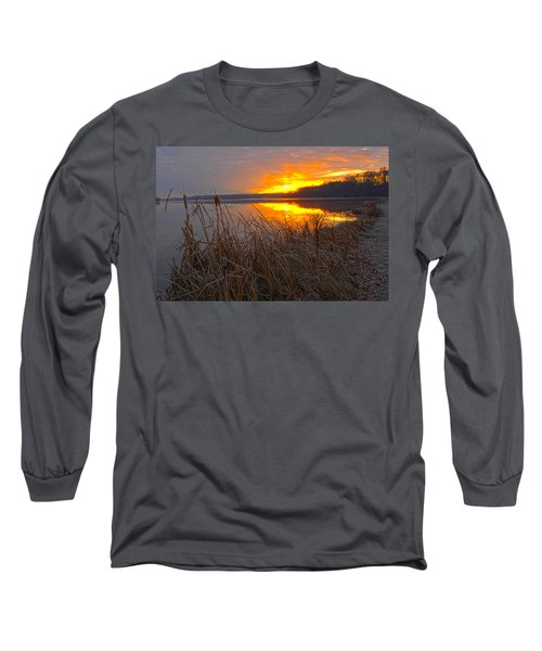 Long Sleeve T-Shirt featuring the photograph Rising Sunlights Up Shore Line Of Cattails by Randall Branham