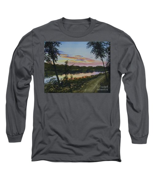 Long Sleeve T-Shirt featuring the painting River Sunset by Martin Howard