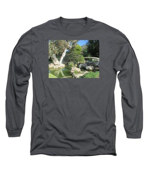 Stone Bridge Pond Long Sleeve T-Shirt by Vivien Rhyan