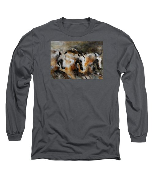 Long Sleeve T-Shirt featuring the painting Rolling Thunder by Barbie Batson