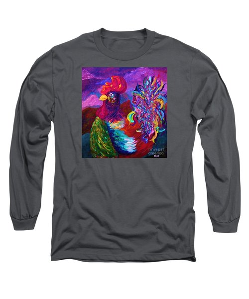 Long Sleeve T-Shirt featuring the painting Rooster On The Horizon by Eloise Schneider