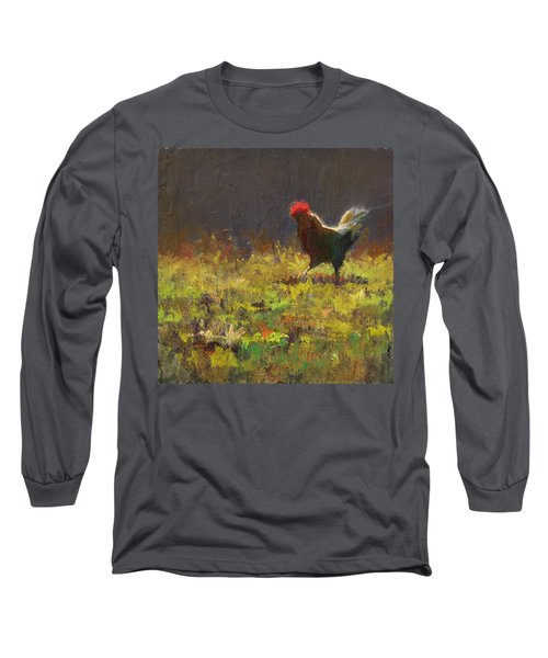 Rooster Strut - Impressionistic Chicken Landscape - Abstract Farm Art - Chicken Art - Farm Decor Long Sleeve T-Shirt
