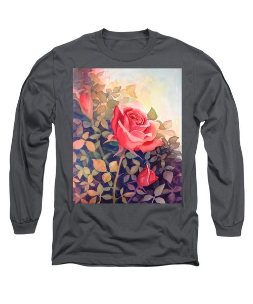 Rose On A Warm Day Long Sleeve T-Shirt by Marilyn Jacobson
