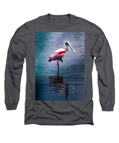 Roseate Spoonbill Long Sleeve T-Shirt by Karen Wiles