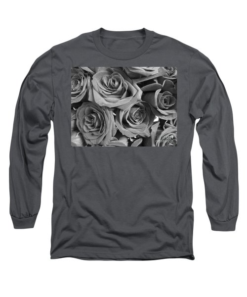 Long Sleeve T-Shirt featuring the photograph Roses On Your Wall Black And White  by Joseph Baril