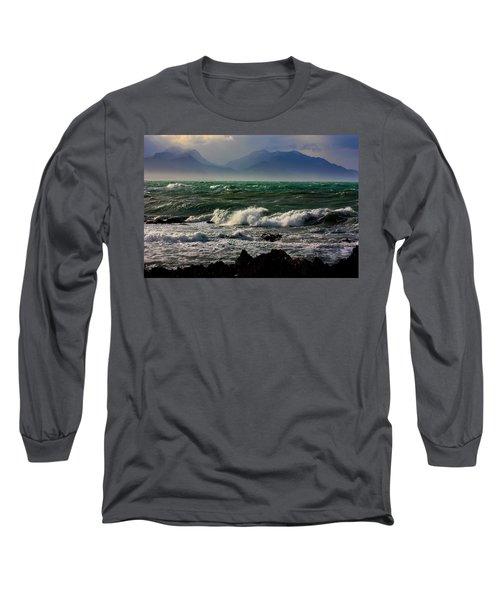 Long Sleeve T-Shirt featuring the photograph Rough Seas Kaikoura New Zealand by Amanda Stadther