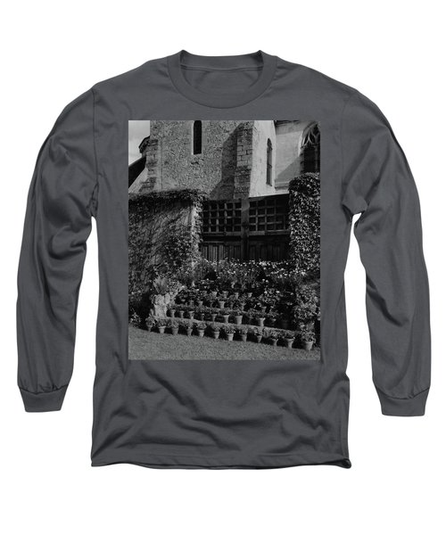 Rows Of Pot Plants Lined On The Steps Of A Garden Long Sleeve T-Shirt